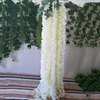 إكليل الزهور الزخرفية جودة عالية أبيض محاكاة الوستارية جارلاند 3 شوركس الاصطناعي الحرير زهرة سلسلة تشفير سلسلة الروطان ل