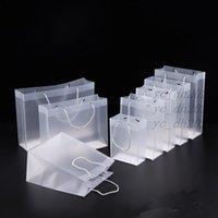 8 größe frostig pvc plastik geschenkbeutel mit griffe wasserdichte transparente pvc tasche klare handtasche party favors tasche benutzerdefinierte logo lx1383