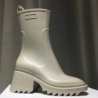 Роскошный дизайнер женские наполовину сапоги обувь зимняя коренастая медицинская каблука простые квадратные пальмы ног обуви дождевые ZIP женщин середины теленка добыча износа устойчивый к толщему злю