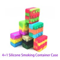 4+1 Silicone Smoking Container Case Carriers Square Box Non-stick 26ml Block For Dab Wax Oil Dry Herb Silicon Storage Jar