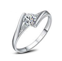 Luxury White Gold Ring Original Zirconia Diamond Wedding Band Silver Jewelry Women Love Gift