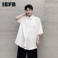 Chemises occasionnelles pour hommes IEFB 2021 Summer Couleur Solide Pendentif en métal Lâche Chemise à manches courtes Vêtements Vintage Vêtements Noir Blanc Revers