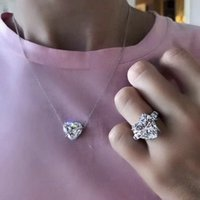 2021 Heart Cut 6ct Lab Diamond Jewelry set 925 Sterling Silver Party Wedding Rings Necklace For Women Bridal Moissanite Jewelry