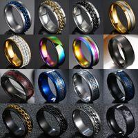 8 мм титановые стальные римские цифровые цепные кольца для мужчин полированные черные панк-рок-велосипед свадебное масонное кольцо