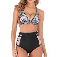 Traje de baño para mujeres Tallas grandes Mujeres Cintura alta Swimsuit S-3XL Push Up Sets Bikini 2021 Mujer Floral Imprimir Grande Halter Halter Baño