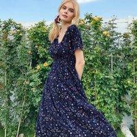 Party Dresses Summer Dress 2021 V Neck Short Sleeve Flower For Women High Waist Bohemian Casual Elegant Bodycon
