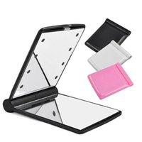 2021 EPACKET GRATUITA 8 LED luce trucco specchio desktop portatile portatile illuminato per il viaggio 6 colori in magazzino batteria non inclusa