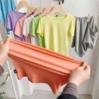 Çocuk T-shirt 2021 Yaz Kore Tarzı Saf Pamuk Bluz Alt Tees Katı Şeker Renk Tişörtleri Moda Çocuk Giysileri G579W7D Tops