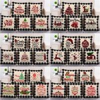 107 style Christmas lattice PillowCase linen 45*45cm pillows cover home sofa cushion cover Home-Textiles Christmas decorations T9I001548