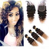 # 1b 4 27 черно-коричневый до медового блондинка ommre глубокая волна малайзии человеческих волос плетение пучки 3шт с 3tone Ombre кружевной закрытие 4x4