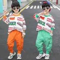 2021 Весна и осень Одежда 7 Мальчиков Костюм красочные буквы Корейский стиль Спортивный Красивый Средний и Большие Дети Маленькие Мальчики Дети 8 лет