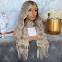180 Density Light Brown Rooted Platinum Blonde Wig Highlight Remy Human Hair 13x4Lace Front Wigs for Black Women Transparent Lace Grey Ombre full lacewigs