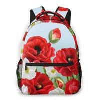 Mochila montañismo floral borde rojo amapolas flores y anémonas blancas bolsas de hombro mochilas