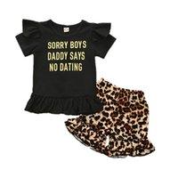 Wholesale kid outfits summer flutter sleeve golden graphic leopard kids shorts little girls clothing set