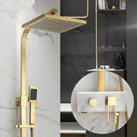 Ванная комната для душа для ванной комнаты TUQIU Coast Caucet Mixer Tap латунные роскоши 8 дюймов золотая мраморная ванна набор