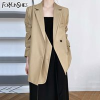 FORYUNSHES Spring Black Blazer Suits Women Oversized Khaki Vintage Jacket Double Placket Design Sense Suit Coat Casual 210523