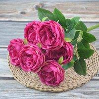 الحرير الاصطناعي الفاوانيا الزهور باقات 7 رؤساء الأساسية نسج الفاينز الزفاف المنزل الديكور الأبيض الشمبانيا الأزرق الوردي HWD10314