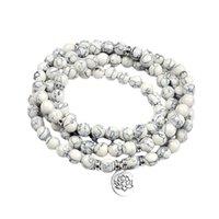Йога синтетическая белая сосновая браслет ювелирных изделий ручная струна лотос розарного браслета