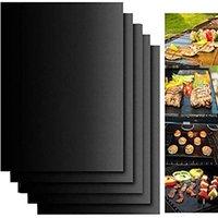 BBQ 그릴 매트 휴대용 비 스틱 및 재사용 가능하게 굽기 쉬운 13 * 15.75inch / 33 * 40cm 블랙 오븐 핫 플레이트 매트 바베큐 도구 GGA3854 680 R2