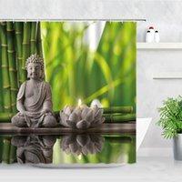 Shower Curtains Waterproof Curtain Green Bamboo Buddha Lotus Candle Zen Garden Natural Scenery Modern Home Decor Screen Bathroom