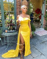Yellow Satin Mermaid Evening Dresses Off the Shoulder Side Slit Sexy Prom Gowns Sheath Simple Formal Party