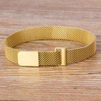 Charm Bracelets Classic Universal Punk Men Women Adjustable Bracelet Stainless Steel Magnetic Clasp Fashion Watch Belt Bangles Jewelry Gift