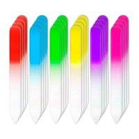 PCS Archivos de uñas Vidrio Fingerna Finger Care Herramientas de manicura Set, Gradient Rainbow Color Buffer