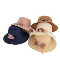 Spring And Summer Korean Flower Ladies Seaside Sun Hat Outdoor Travel Sunscreen UV Protection Lolita Fan Straw Cap Wide Brim Hats