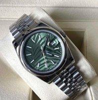 滑らかなベゼルデイトジャスト腕時計緑の葉ダイヤル鋼鉄メンズ41mmサファイアガラス腕時計の自動メカニカルステンレスオイスターパーペチュアル