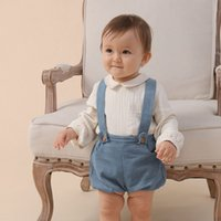 Spanish Baby Clothing Set For Girls Boys 2021 Newborn Baby Cats Linen Blouse With Shorts Suits Long Mouw Top outfit 210429