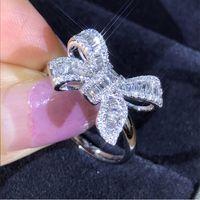 새로운 나비 사다리 다이아몬드 반지 925 스털링 실버 도금 T 공주님 컷 화이트 토파즈 CZ 나비 결혼 반지 선물 여성을위한