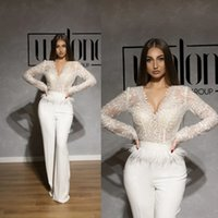 Sexy V-neck Evening Dress Jumpsuit 2021 Lace Stain Peplum Feather Long Sleeve Arabic Occasion Prom Gown with Pant Suit Robes