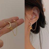 Dangle & Chandelier 2021 Elegant Cute Rhinestone Star Moon Stud Earrings For Women Girls Fashion Long Chain Boucle 1pcs Earring Jewelry Gift