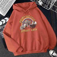 Support Your Local Cats Print Women Hoodie Cartoons Crewneck Clothing Vintage Losse Sweatshirt Street Hip Hop Hoody Womens