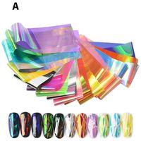 Nail Art Etiketler Renkli Mermer Çiçek Yaldız Desen Transfer Folyo Aksesuarları Manikürleme Tasarımı için