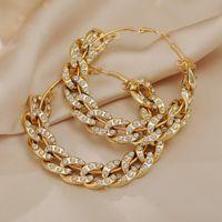 Orecchini a catena di collegamento cubani di cristallo di tendenza per le donne Unusual Big Hoop Gold Color Color Cerchio orecchino gioielli Huggie