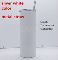 DIY sublimation Wine Glasses skinny tumbler 20oz straight tumblers metal straw stainless steel slim tumble vacuum insulated travel mug gifts