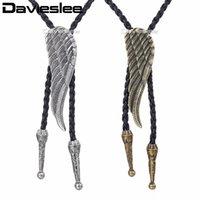 Davieslee Herren Kette Knoten Flügel Bull Kopf Anhänger Halskette Mann Made Leder Cowboy Messing Silber Farbe 40inch Lunm30 Ketten
