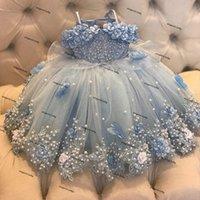 Himmel blaue 3d floral blume mädchen kleider robe mariage enfant fille 2021 pearls spitze tüll erster kommunion kleid für hochzeit