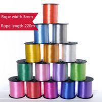 Renkli Balon Şerit Düğün Doğum Günü Partisi Süslemeleri Hediye Sarma Dize 220 M * 5mm / Rulo 15 Renk Seçilebilir XD24611