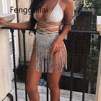 Fengguilai 2019 verão rua vinho rock mulheres sexy brilhando metais encadeamento festa clube praia rave mini rok ouro sier