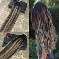 100% Remy Menschenhaarband in Haarverlängerungen Blayage # 2 Verblassen auf # 27 Skin Weft Tape auf Virgin Hair Extensions 100g / 40pcs