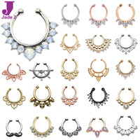 Hot Sale Variety Fake Septum Nose Rings Crystal Gold Faux Pi...