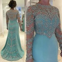 2018 Light Blue Long Sleeves Lace Mermaid Evening Dresses Ap...