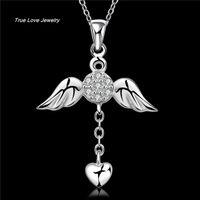 N674 nuevo diseño hermoso 925 alas de ángel de plata esterlina corazón colgante collar con circón joyería de moda regalos de boda envío gratis