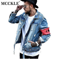Venta al por mayor-MCCKLE Hi-Street Men Ripped Ribbon Chaquetas lavadas patchwork Distressed Denim Hombre Slim Fit Streetwear HipHop Vintage chaqueta