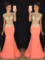 2017 Mermaid Prom Dresses Coral High Beaded Collar Top Rhine...