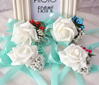 4 colors Wedding Bouquets For Brides Wrist Flowers Flower Br...