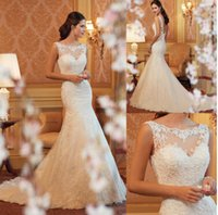New Romantic lace fishtail wedding dress bride dresses women...