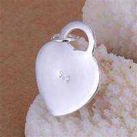 chapado en plata de ley 925 plateado 925 corazón colgante 3.5 CM * 2.4 CM encantos colgantes de joyería de alta calidad en forma de collar de la pulsera